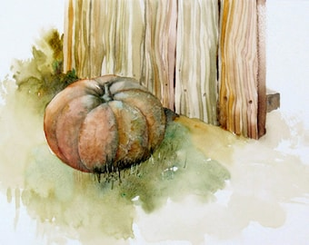Pumpkin Art Original Painting - Watercolor Landscape - Rustic Painting - 9x12