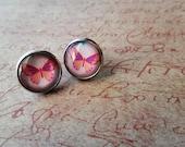 Pink Butterfly Stud Post Earrings