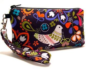 Wristlet, Small Purse, Clutch, Zipper Purse, Smarthphone Wallet, Smartphone Purese, Small Wrist Purse, iPhone Wallet, Cute Bird Fabric