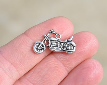 10 Silver Motorcycle Charms SC1301