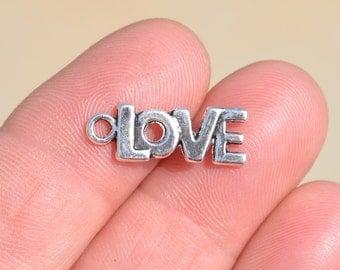BULK 50 Silver Word LOVE Charms SC2091