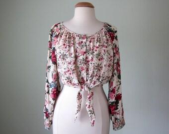 90s blouse / pink floral crop top shirt tie waist button down (m - l)
