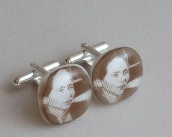 Simone de Beauvoir Cufflinks - Fused glass