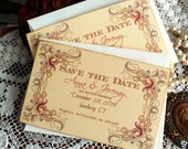 CUSTOM ORDER Deposit for Jenna Brazier...Vintage Colored Floral Frame Wedding Save the Date Cards Handmade by avintageobsession on etsy