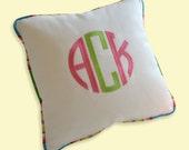 embroidery monogram pillow white sunbrella multicolor indoor outdoor linen cotton