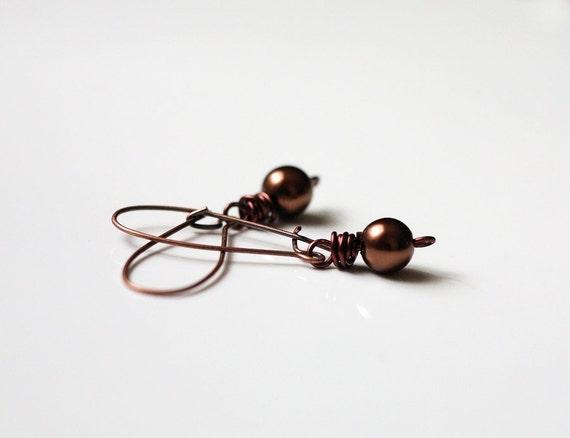 Chocolate Brown Drop Earrings, Brown Glass Pearl Earrings, Coffee Brown Casual Earrings Under 25 Dollars