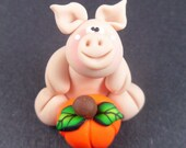 Pig with a Pumpkin, Polymer Clay, Halloween, Thanksgiving, Fall, Autumn Critter Figure by The Critter Company