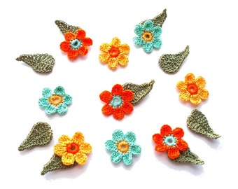 Crochet Flowers with Leaves Orange Yellow Pale Teal 18pcs