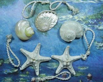 Mermaids Pearly Holiday Treasure - Pearly Seashell and Starfish Wedding Favor Ornaments