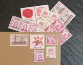 Pretty in Pink .. Vintage UNused Postage Stamps .. to post 5 letters