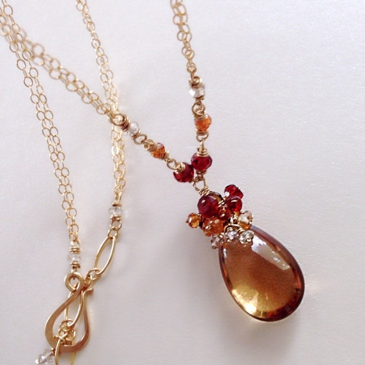 november birthstone orange topaz briolette necklace with