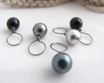 Black Onyx Silver and Gray Swarovski Crystal Pearls Knit Stitch Markers - Set of 5