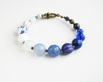 Blue White Beaded Bracelet Europeanstreetteam Cobalt Royal Blue Bracelet  Floral Bracelet Something Blue