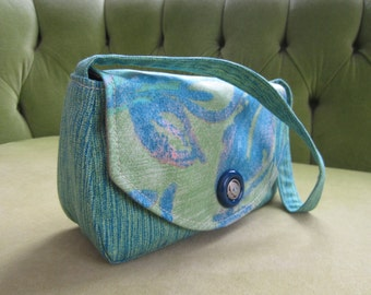 Small Purse or Clutch in Blue and Green Fabric