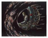 "Art Print - 11x14""- Original design on Scratchboard - Alien Universe Galaxy"