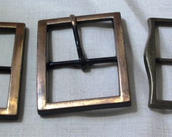 Vintage Lot of 3 Large Heavy Metal  Belt Buckles - Antiqued Finish -NOS- 1960 Era (Credit Cards Accepted)