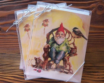 Gnome greeting cards ~ set of five