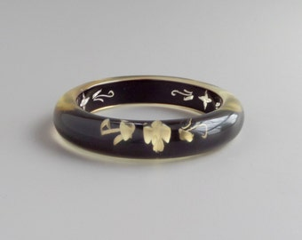 Reverse Carved Lucite Bangle. 1940s. Black and White.