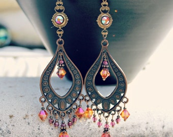Bohemian Chandelier Earrings, Vintage Jewel, Orange Pink Earrings, Antique Copper, Boho  Dangle Earrings