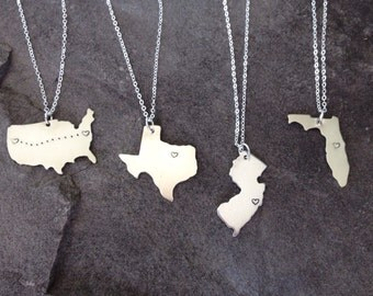 State pride hometown USA relocation east west coast necklace all states