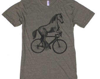 Horse on a Bicycle - Mens T Shirt, Unisex Tee, Tri Blend Tee, Handmade graphic tee, sizes xs-xxl