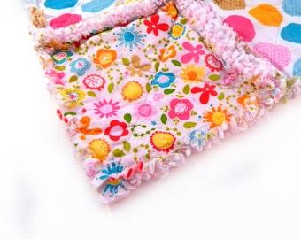 Girl Mini Baby Blanket - Flowers Dots Pink Green Blue Yellow Girl- Rag Cuddle Lovey