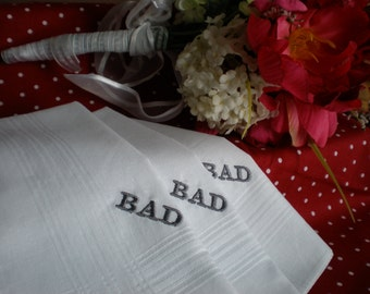 Custom Personalized White Cotton  Hankies-set of 2- embroidered Hankerchiefs Monograms-Men Fathers  Wedding