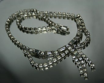 Vintage Silver Tone and Clear Rhinestone Necklace/Choker
