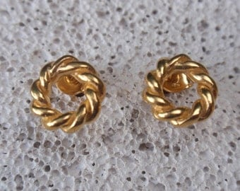 gold studs open twisted circle stud earrings 24k gold plated sterling silver post earrings