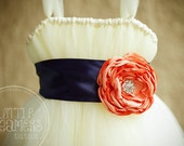 Ivory Tutu Dress with Navy and Peach Flower Sash
