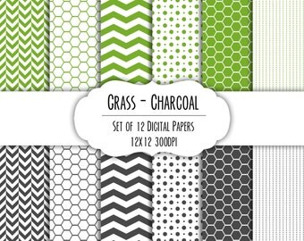 Grass Green & Charcoal Gray Digital Scrapbook Paper 12x12 - Set of 12 - Dots, Chevron, Hexagon - Instant Download - Item# 8156