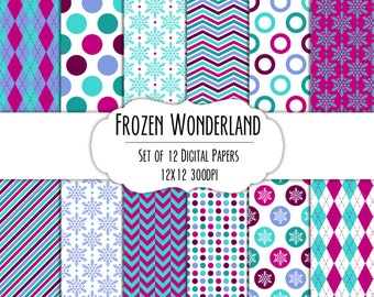 Frozen Wonderland Digital Scrapbook Paper 12x12 Pack - Set of 12 - Polka Dots, Snowflakes, Chevron - Instant Download - #8130