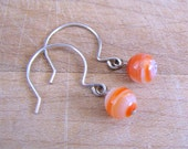 Orange Onyx Argentium Silver Earrings