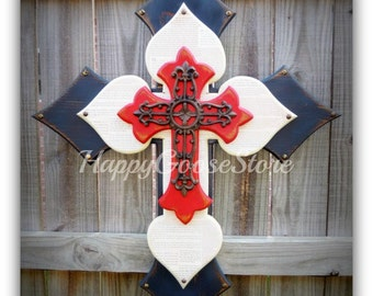 Wall CROSS - Wood Cross - X-Large - Antiqued Red, White, and Navy, with Faith Wording and iron cross