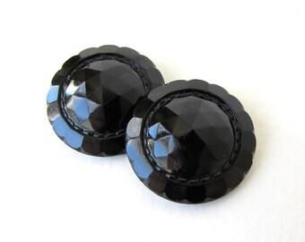 Czech Glass Buttons Black Flower Faceted Sewing Shank 28mm but0246 (2)