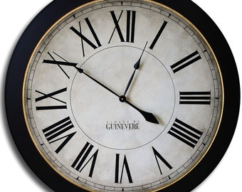 Large Wall Clock 24in MANCHESTER Linen Big Gallery Antique Style Family Heirloom FREE INSCRIPTION
