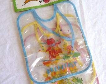 plastic baby bibs, vintage breakfast bib, lunch bib, dinner bib, new in package, baby accessories, vintage housewares, set of three bibs