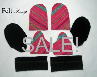 SALE - Wool Sweater Mitten Kit - Children Size DIY - Fully Lined #114