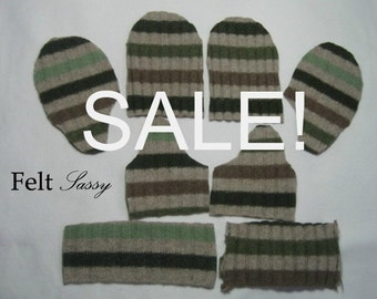 SALE - Wool Sweater Mitten Kit - Womens Size DIY - Fully Lined #101