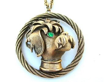 Trifari Vintage Pendant Statement Necklace Dog Poodle Pets Animals Designer Signed Costume Jewelry Long Necklace