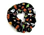 Black Hair Scrunchie Halloween Candy Hair Accessories Ponytail Holder Hair Bun Cute Hair Scrunchies Halloween Costumes