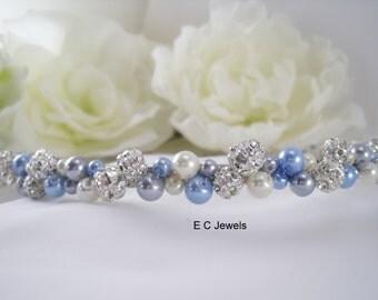 Pearl, Rhinestone Elegance Tiara (Blue)