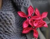 felt brooch tangerine brooch red flowers flower woman pin heart love