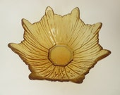 Vintage Amber textured glass Bowl -  Mid Century Flower shaped glass bowl