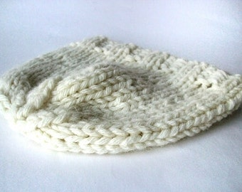 Hand knitted women's beanie hat natural white