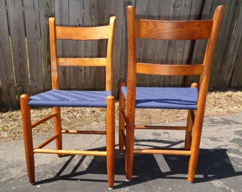 1800's Thumb Back Navy Blue Shaker Tape Chair(s)