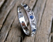 Blue Sapphire Wedding Ring in 14K White Gold with Vintage Style Scroll Design Size 5