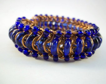 "Stunning Bright Blue and Copper Chainmail and Glass Bracelet - Copper and Blue ""Glass Caterpillar"" Chainmaille Jewelry"