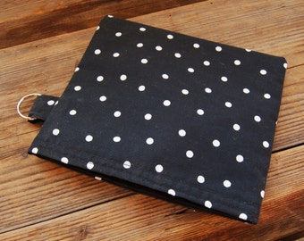 Black and white polka dot snack sandwich pouch pack bag, from Finland