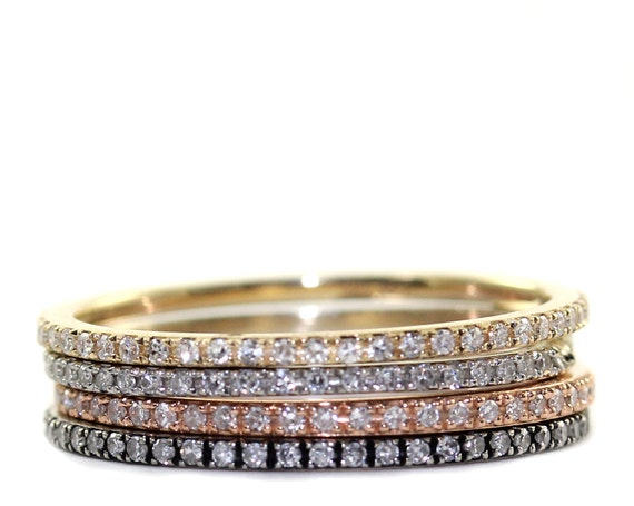 Micropave Diamond Ring Stacking Ring Engagement Diamond